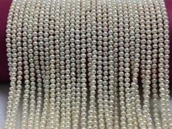 Freshwater Pearl Near Round Shape Cream Color Beads  Size 3.5 Mm Pearl Strand