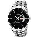 Jainx Round Black Dial Day And Date Series Analogue Watch For Men & Boys JM308