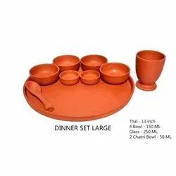 Round Brown Large Clay Dinner Set