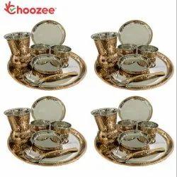 Choozee - Copper Thali Set of 4 (28 Pcs) Plate, Bowl, Spoon & Matka Glass