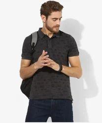 US  Polo Assn Dark Grey Printed Regular Fit Polo T Shirt