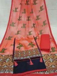 Satin Cotton Digital Print Patch Unstitched Dress Material