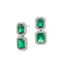 6x4 Oval Emerald Studded Diamond Earring