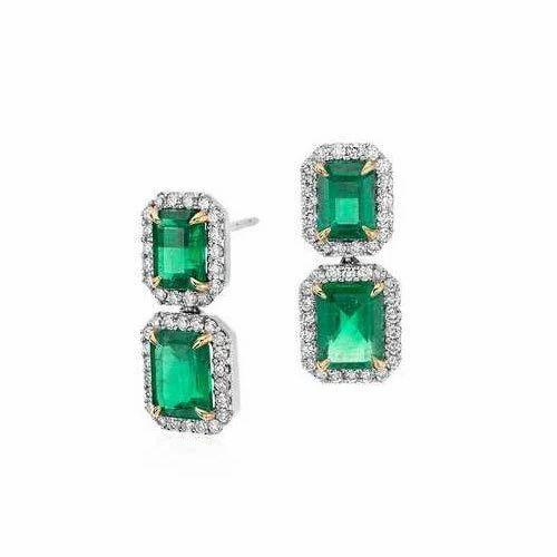 6x4 Oval Emerald Studded Diamond Earring