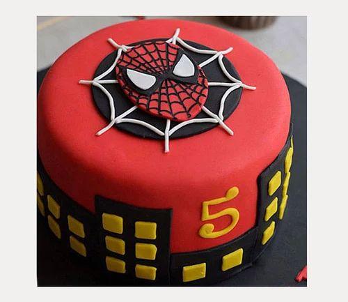 Round Fondant Spiderman Cake 1kg Vanilla Rs 1999 Kilogram Ferns N