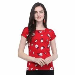 Half Sleeves Printed Round Neck Casual Wear Cotton Top, Size: S-XL