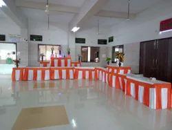Orange & White Modern Fancy Table Counter Cover, For Wedding