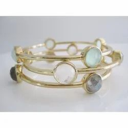 Natural Gemstone Bezel Set Four Stone Bangle
