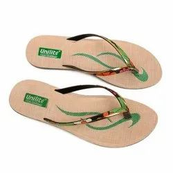 Women Green Golden PVC Fashion Slippers
