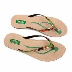 Women Green Golden PVC Fashion Slippers