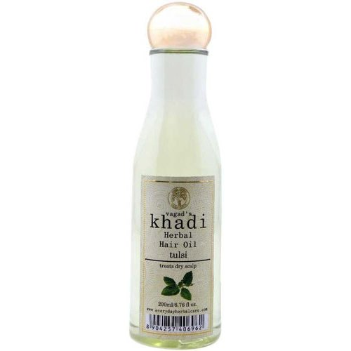 Vagad's Khadi Anti Dandruff Khadi Tulsi Herbal Hair Oil, Packaging Type: Plastic Bottle ,Pack size: 200 ml. 6.76 fl oz