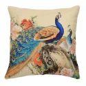 Peacock Printed Jute Cushion Cover