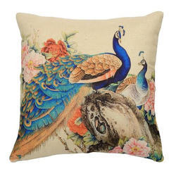Peacock Printed Jute Cushion Cover