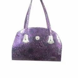 Purple and Black Rexine Box Purse