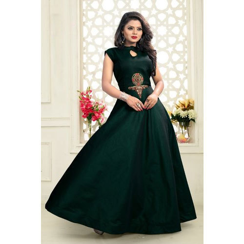 26acf0c588e Hanumant Fashion Ladies Party Wear Green Silk Gown
