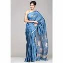Blue Printed Indigo Ladies Silk Saree