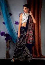 Hand Block Ajrakh Printed Cotton Saree, 5.5 m (separate blouse piece)
