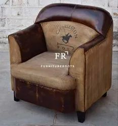 Cafe Furniture - Buclub Leather Armchair, Vintage Single Seater Sofa Chair