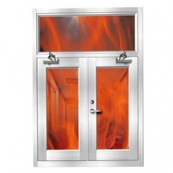 Mild Steel Powder Coated Two Hours Fire Resistant Window, For Industrial