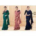 Ladies Designer Ruffle Silk Saree