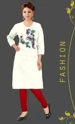 Straight Full Sleeve Casual Wear Rayon Slub Kurti, Size: 3XL & 4XL