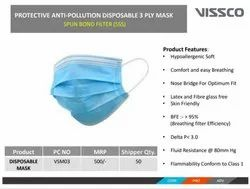 Vissco Anti Pollution Disposable Mask 3 Ply With Nose Pin, Certification: Ce