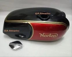 New Norton Commando Roadster Black And Red Painted Fuel Tank with Fuel Cap