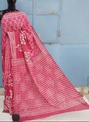 Bagru Hand Block Printed Cotton Mulmul Saree