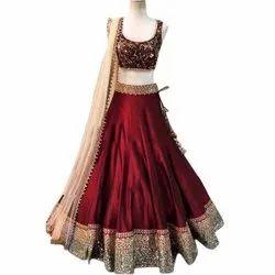 Wedding Wear Machine Ladies Designer Velvet and Silk Lehenga Choli, Dupatta Length: 2.25 M