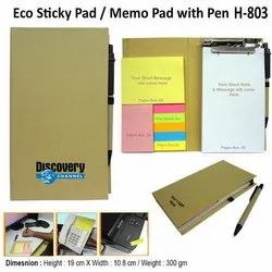 Eco Sticky Note Pad with Ball Pen H-803