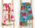 Women's Hand Quilted Cotton Kantha Scarf/ Dupatta