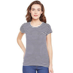 Cotton Ladies Striped T-Shirt