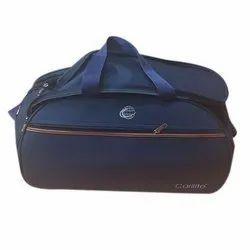 Blue Plain Polyester Duffel Luggage Bag