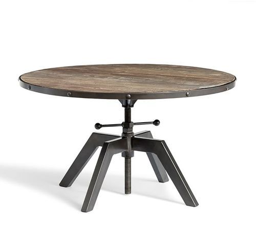 Great Industrial Round Adjustable Height Coffee Table