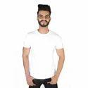 Small White Mens Round Neck Plain T Shirts