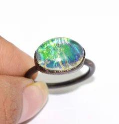 Massive Foil Glass Fire Opal Handmade Women Fashion Rinngs