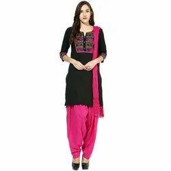 Cotton Unstitched Black And Pink Ladies Salwar Suits, Machine wash
