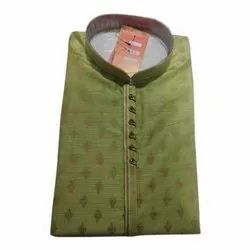 Party Wear Printed Mens Fancy Khadi Silk Kurta, Size: S-XXL