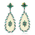 Gemco Design Baguette Diamond Emerald Dangle Earring Women Jewelry Gold