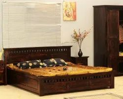 Brown Modern Soni Art Exports Walnut Color Solid Wood Bed 84x80x38 inch
