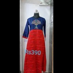 Rayon Umbrella Embroidery Kurti