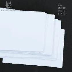 Handmade Paper, Fine-Cut, A4 Size  - 100% White Cotton