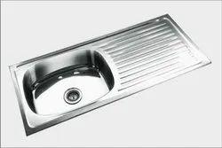 37x18x8 Stainless Steel Drain Board Kitchen Sink