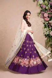 Indian Ethnic Designer Raw Silk Purple Color Lehenga Choli