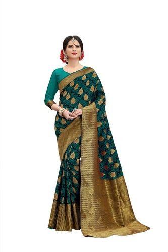 cb6fd4e644 Thankar Banarasi Silk Dark Green Heavy Saree, Length: 6.3 M, Rs 995 ...