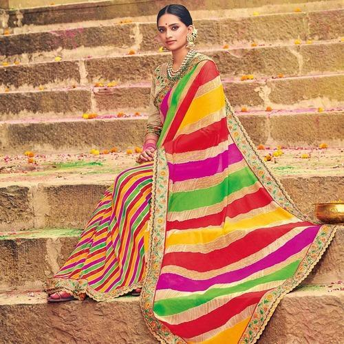 3823682348 Ideal Multicolored Party Wear Lehariya Printed Georgette Saree at Rs ...