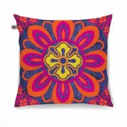 Radiant Flower Motif Cushion Cover