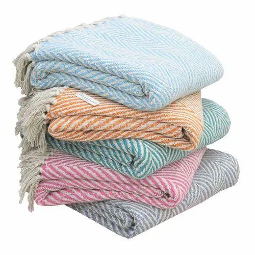 Throws Blankets Sofa Etc Herringbone Cotton
