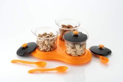 Unique Kitchen Spice Storage Jar With Spoon And Tray(3 Pcs/Multi) - New 3 Pcs Dining Set