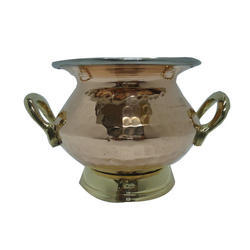 Copper Steel Punjabi Handi with Handle & Base